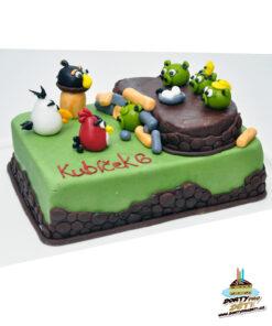 Dorty pro děti - dětské dorty - Angry Birds a prasata 3D